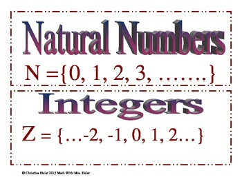 Number Set and The Real Number System Word Wall