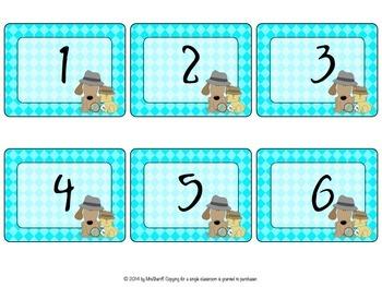 Number Set or Name Tags - Detective Theme {EDITABLE}