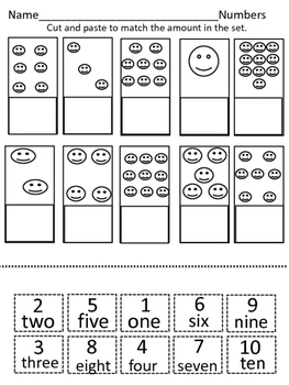 Number Sets Cut and Paste Freebie