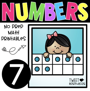 All About the NUMBER SEVEN ~ NO PREP Kindergarten Math Printables