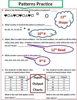 Number & Shape Patterns-2 Pre/Posttests 4 Mini Quizzes 1 Sort 14 Practice Pages