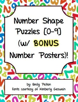 Number Shape Puzzles (w/ BONUS Number Posters)!