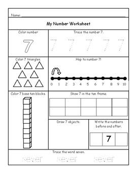 Number Sheets 1-10