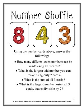 Number Shuffle - A Warm-up Math Activity