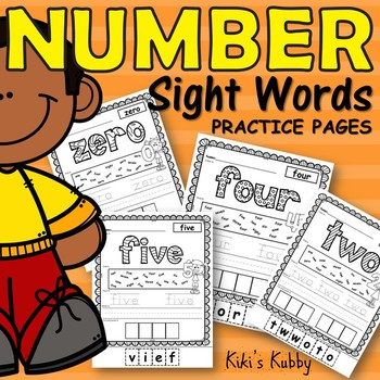 Number Sight Words Practice Pages
