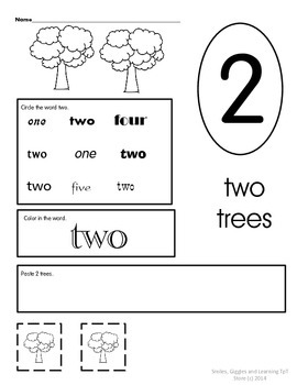 Number Sight Words Printables