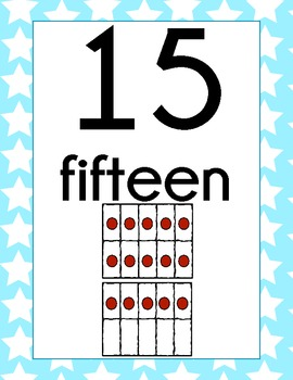 Number Signs- Light Blue Star Theme