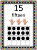Number Signs / Math Word Wall Posters with Ten Frames & Fingers - Rainbow Dots