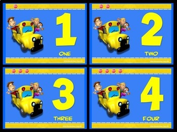 Number Signs and Cards: Fun Bus- Full Page and Quarter Page Set (Numbers 1 - 20)