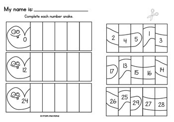 Number Snake - Printable Game for Counting / Number Sequence