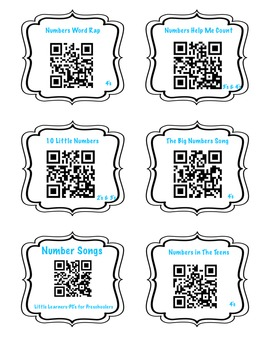 Number Songs using QR Codes FREEBIE!
