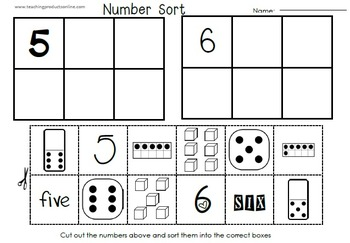 number sort 1 10 cut paste activities and math centers by teaching products. Black Bedroom Furniture Sets. Home Design Ideas