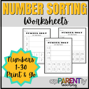 Number Sort Cut and Paste 1-30