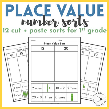 Number Sort Packet- Place Value Cut and Paste- Tens and Ones and Base Ten Blocks