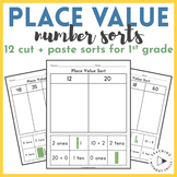 2-Digit Place Value Sorts Worksheets | 1st Grade | Cut and Paste Base Ten Blocks