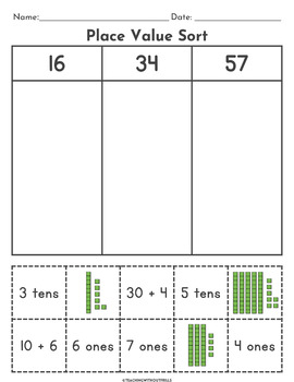 2-Digit Place Value Sorts Worksheets | 1st Grade | Cut and ...