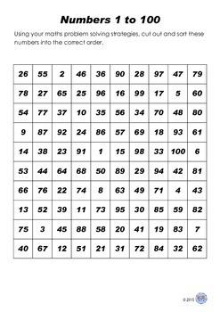 Number Sort Problem Solving Activity 1-100 : Grades 1-3