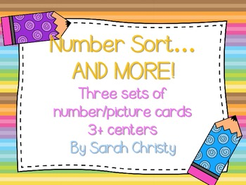 Number Sort and More!-Cheveron Style Centers, Flashcards,