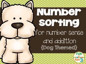 Number Sort for addition and number sense {Dog Themed}