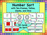 Number Sort with Ten-Frames, Tallies, Clocks, and Dice