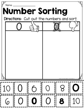 Number Sorting-Print and Go!