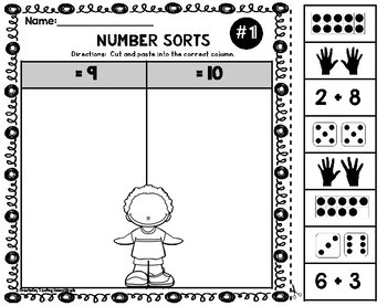 Number Sorts Worksheets Cut and Paste