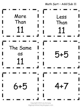 Number Sorts Adding and Subtracting 11 - 20