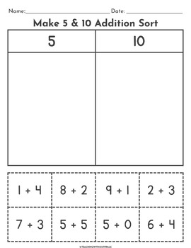 |Addition| Cut and Paste Number Sorts Packet for Kindergarten & First Grade