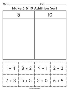 Addition Number Sorts Worksheets | Kindergarten 1st + 2nd ...
