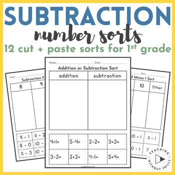 Subtraction Number Sorts Worksheets Kindergarten 1st 2nd Grade Cut Paste