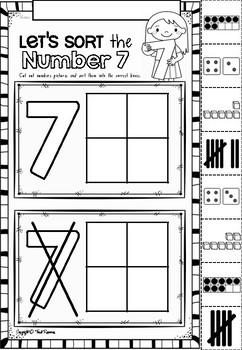 Number Sorts Printables in NSW Foundation Font for Kindergarten