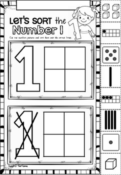 Number Sorts Printables in Victorian Cursive Font for Kindergarten
