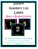 Number Square Labels 1-30 - Black & Brights Edition