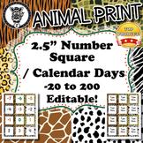 Number Squares / Calendar Days  - Animal Print - ZisforZebra - Editable!