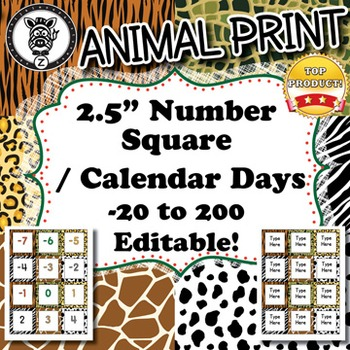 Number Squares / Calendar Days  - Animal Print - ZisforZebra - Editable!