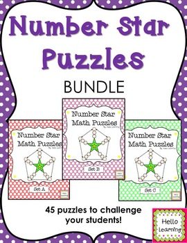 Number Star Math Puzzles- BUNDLE- (sets A, B, and C) - number sense enrichment