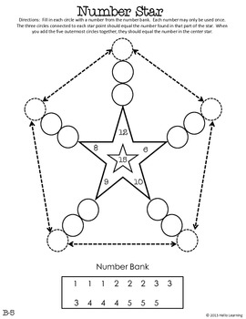 Number Star Math Puzzles - Set B