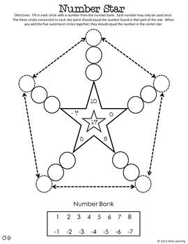 Number Star Math Puzzles - Set C