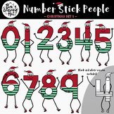 Number Stick People Christmas Clip Art Set 1