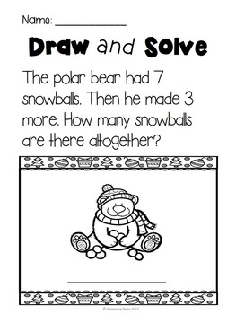 Number Stories - Addition word problems - Winter Theme