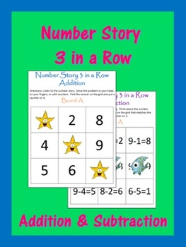 Number Story 3 in a Row Math Center Game-Addition and Subtraction