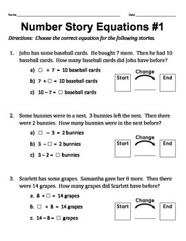 Number Story Equations