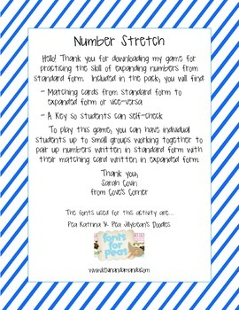 Number Stretch - Expanded to Standard Form of Numbers to the Hundred Millions