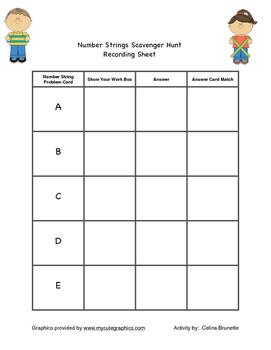 Number Strings Math Scavenger Hunt or Math Station activity
