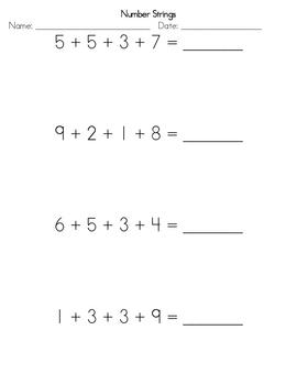 Number Strings Worksheet