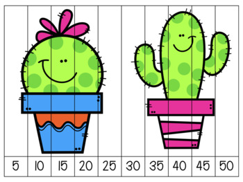 Number Strip Puzzles - Cactus Theme