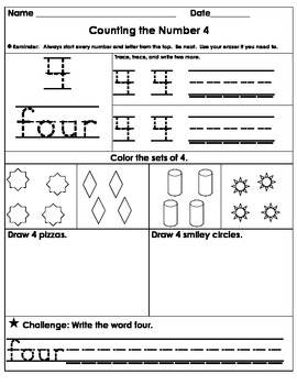 Number Study Worksheets 1-10 - Number Concepts