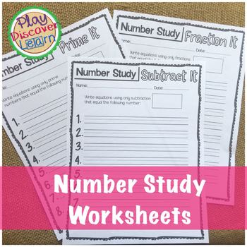 Number Study Worksheets