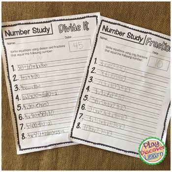 Number Study Worksheets