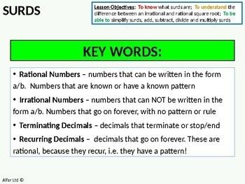 Number: Surds 1 - An Introduction & Simplifying (+ resources)